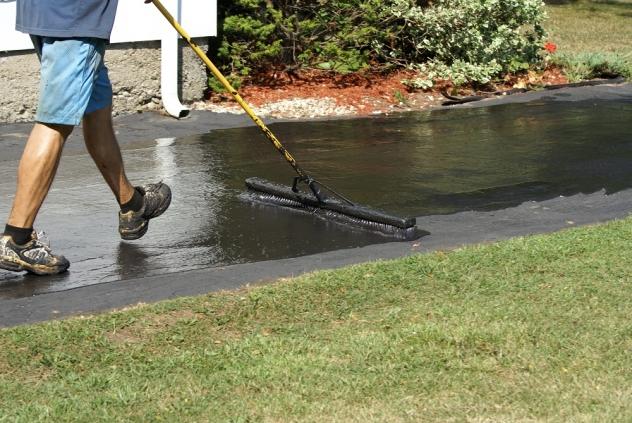 Applying driveway sealer